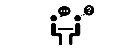 Tow icons of people. One is talking and the other has a question mark in it's though bubble.