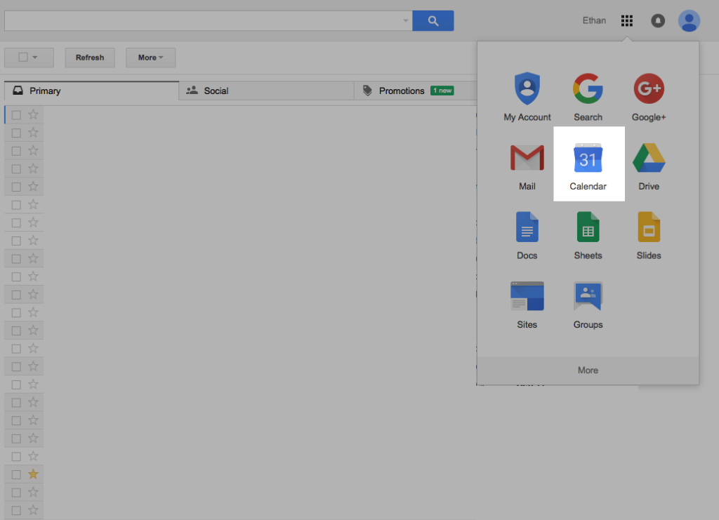 Screen shot of the gmail interface with the pop-over that contains the google calendar icon