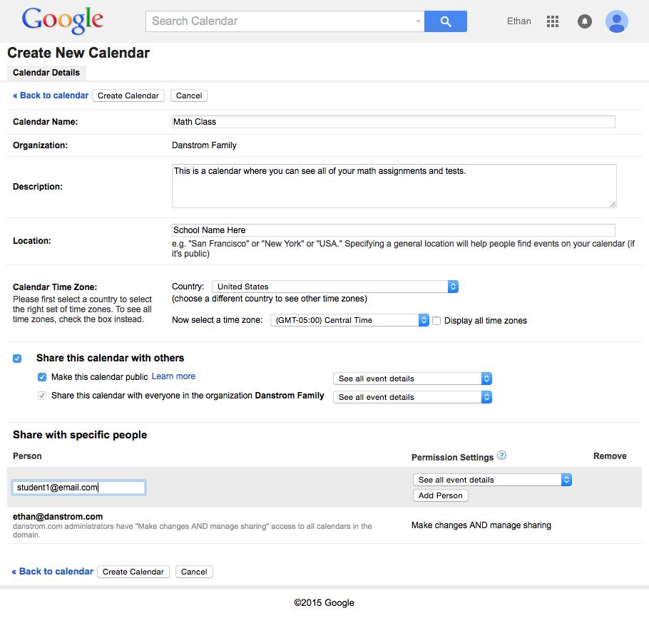 Attribute screen for creating a shared google calendar