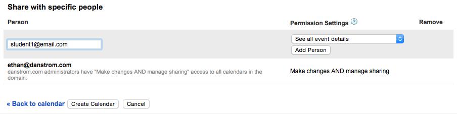 Screenshot of the shared calendar settings in google calendar