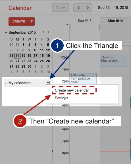 Screen shot and step by step instructions for the first step of creating a google calendar