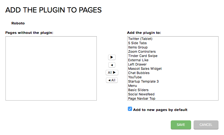 Add the plugin to all existing and new pages