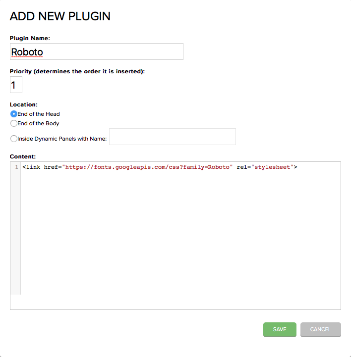 Screen for Creating custom plugin for web font on axshare